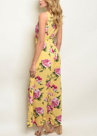 Tie Front Yellow Floral Jumpsuit