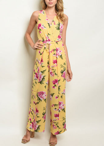 Image of Tie Front Yellow Floral Jumpsuit