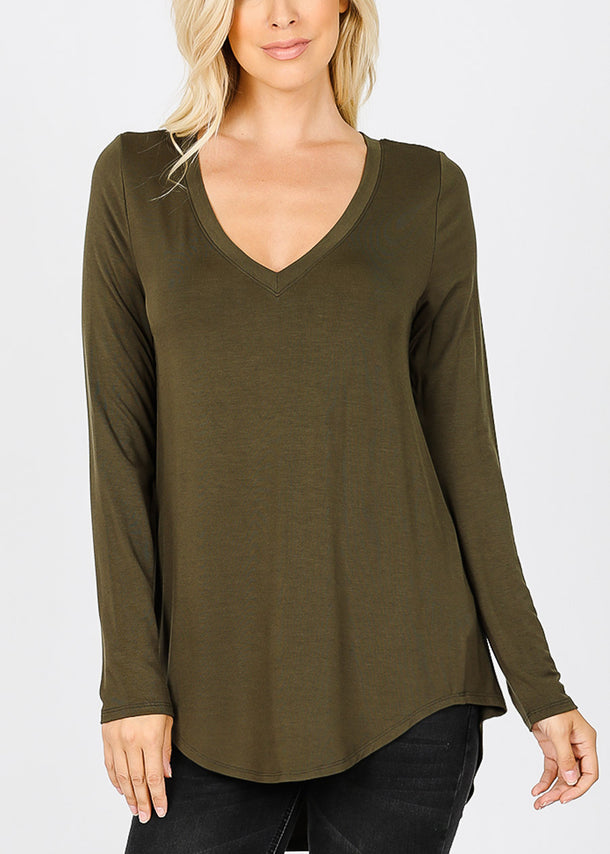 Olive V-Neck Dolphin Hem Tunic Top