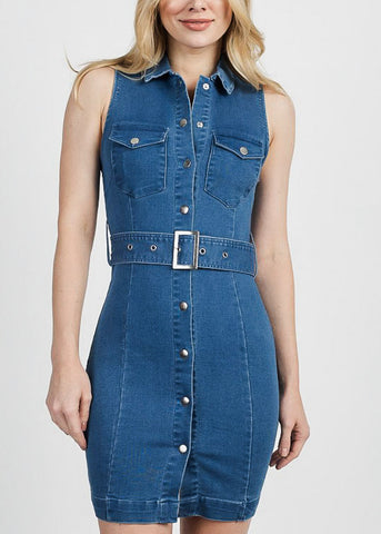 Image of Sleeveless Snap Closure Denim Dress