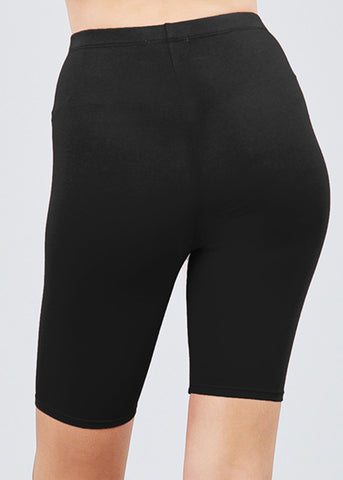 Image of Basic Solid Black Biker Shorts