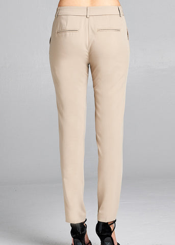 Image of Khaki Skinny Dress Pants