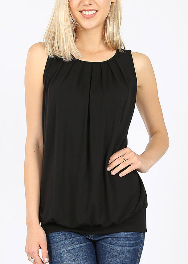 Black Pleated Top W Waistband