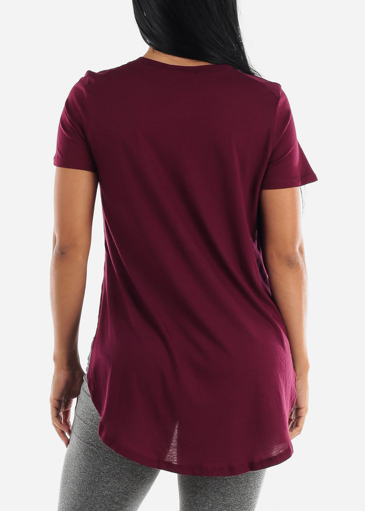 Side Slits Burgundy Tunic Top