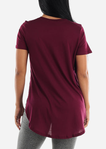 Image of Side Slits Burgundy Tunic Top