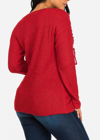 Image of Cozy Red Knitted Sweater