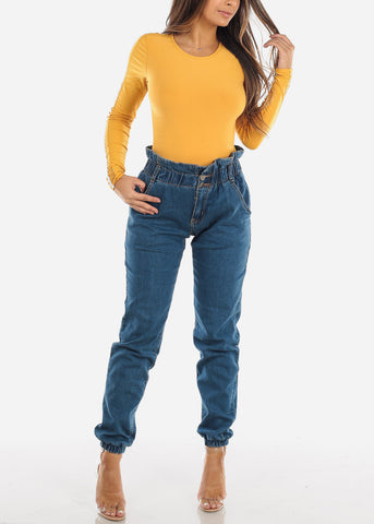 Mustard Mesh Detail Long Sleeve Top