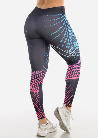 Image of Activewear Printed Black Leggings