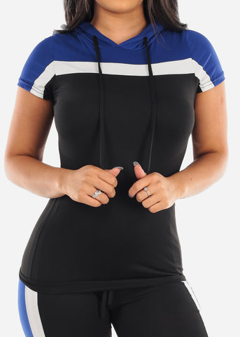 Sexy Short Sleeve Sporty Look Sport Suit Tracksuit Stripe Colorblock Trouser Set Color Block Blue Two Piece Set For Women Ladies Junior