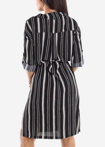 Striped Black Shirt Dress