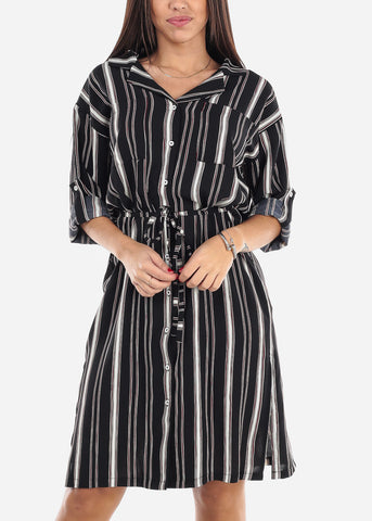 Image of Striped Black Shirt Dress