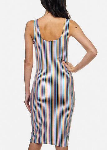 Image of Multicolor Striped Bodycon Midi Dress