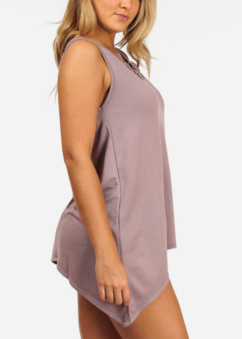 Image of Women's Junior Casual Stretchy Comfy Solid Color Asymmetrical Hem Lace Up Neckline Detail Light Purple Lilac Tunic