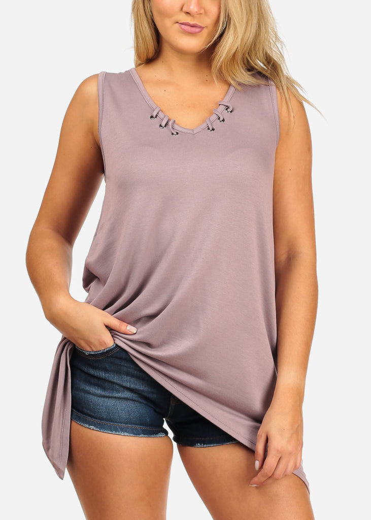 Women's Junior Casual Stretchy Comfy Solid Color Asymmetrical Hem Lace Up Neckline Detail Light Purple Lilac Tunic