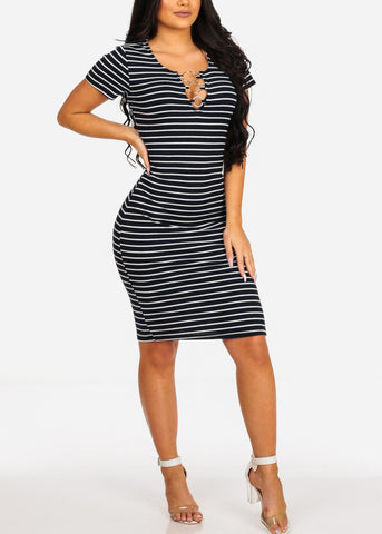 Sexy Casual  Navy Stripe Ring Inset V Neckline Bodycon Midi Dress