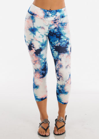 Women's Junior Ladies Cute Comfortable Trendy Pull On High Waisted Multicolor Tie Dye Capri Leggings