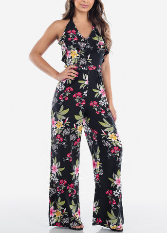 Sexy Lightweight Halter Neck Black Floral Print Jumper For Women Vacation Trip