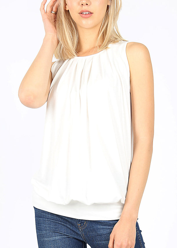 White Pleated Top W Waistband