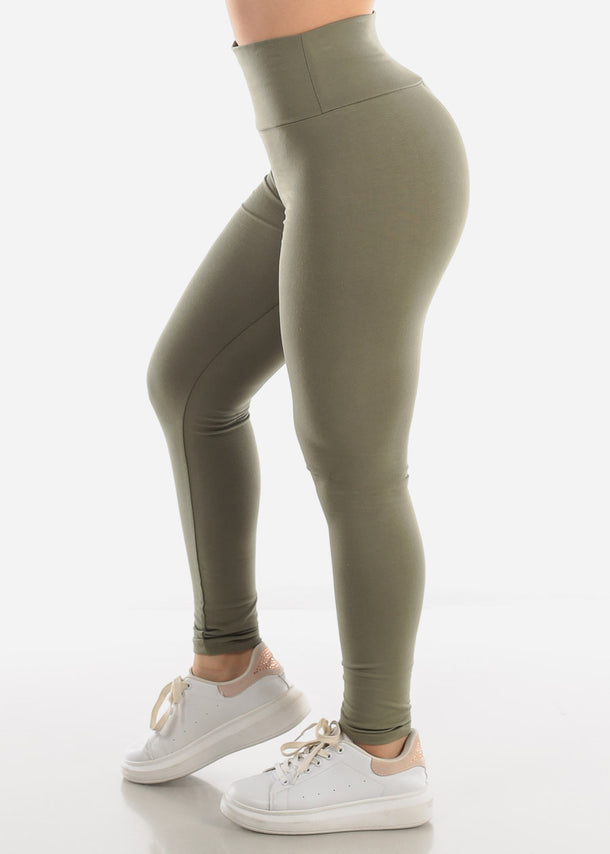 Activewear Pull On Light Green Skinny Leggings