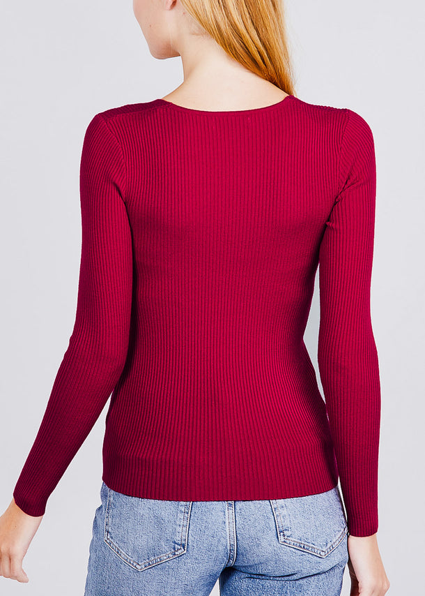 V-Neck Viscose Rib Wine Sweater
