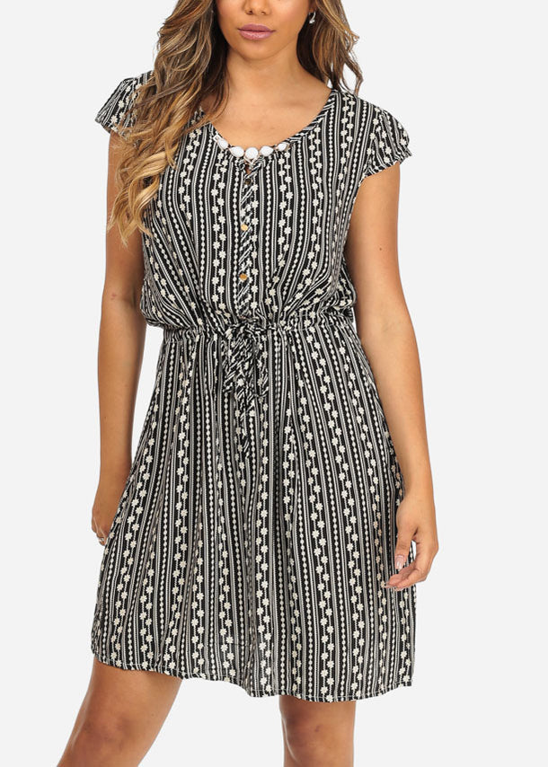Floral Print Black Faux Button Up Drawstring Waist Above Knee Dress