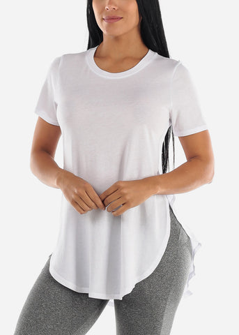 Image of Side Slits White Tunic Top