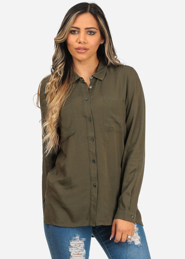 Button Up Long Sleeve Pocket Shirt