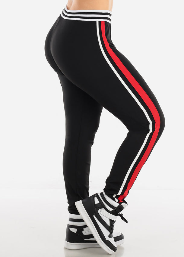 Activewear Plus Size Red & Black Pants
