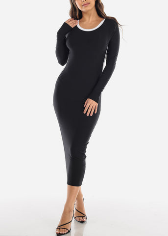 Image of Strappy Back Black Midi Dress