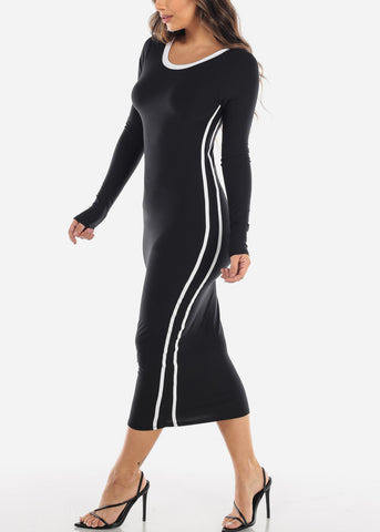 Strappy Back Black Midi Dress