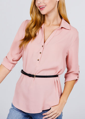 Image of Half Button Up Lightweight Pink Shirt