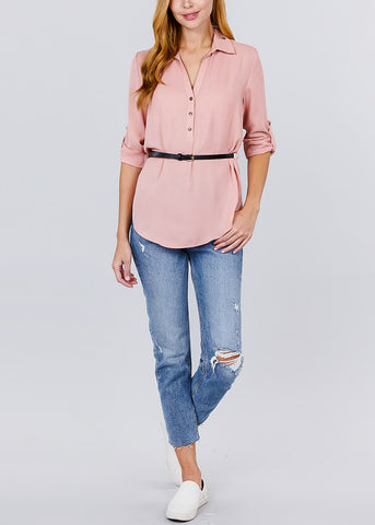 Half Button Up Lightweight Pink Shirt