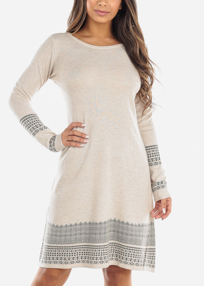 Printed Hem Cream Sweater Dress