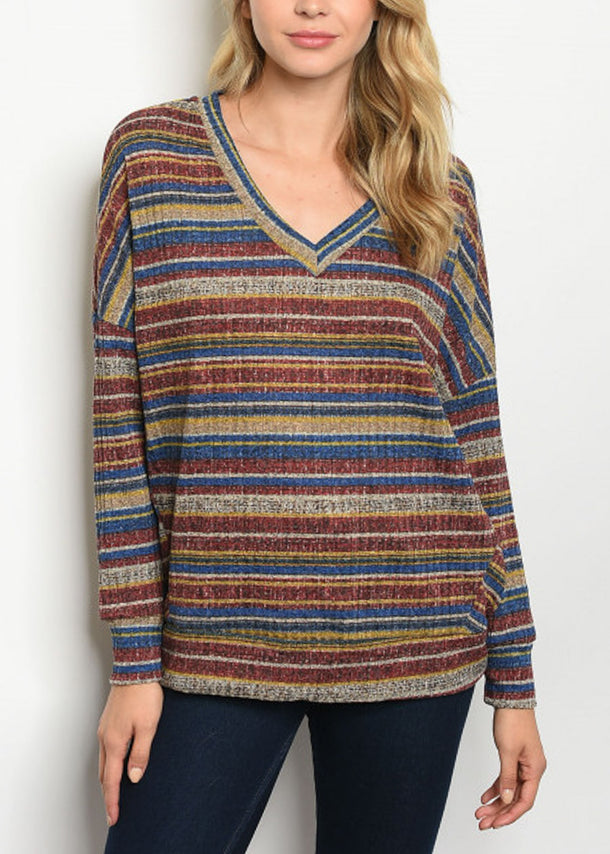 Long Sleeve Multicolor Stripe Tunic Top
