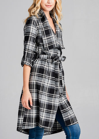 Black & Grey Plaid Trench Jacket