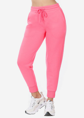 Pink High Waist Jogger Sweatpants