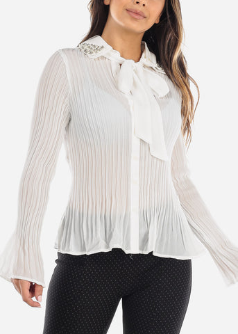 Image of Pearl Collar Pleated White Blouse