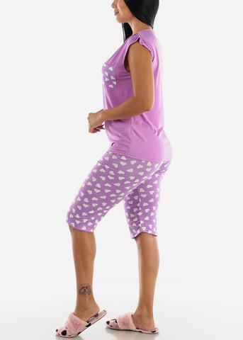 Heart Printed Purple Top & Capris (2 PCE PJ SET)
