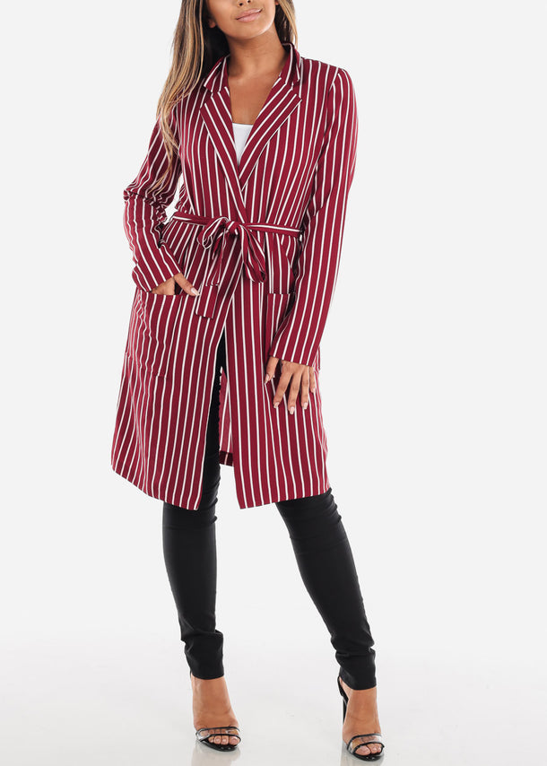Red Stripe Belted Long Blazer