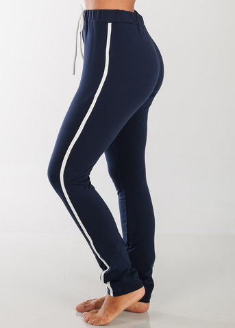 High Rise Elastic Stripe Pants (Navy)