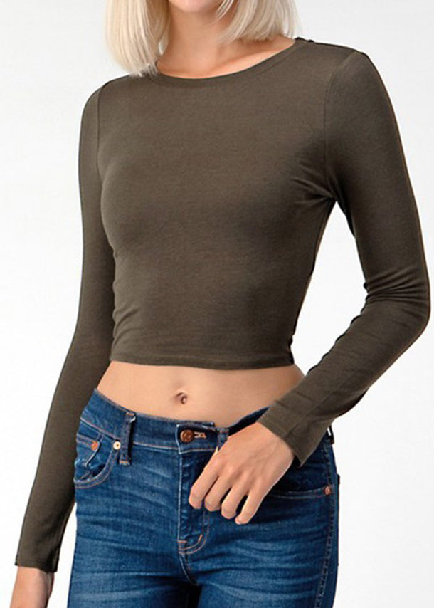 Long Sleeve Olive Crop Top