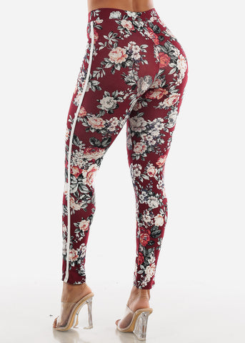 Side Stripe Floral Burgundy Leggings