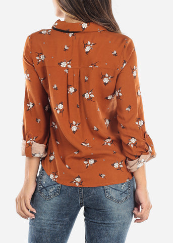 Image of Orange Floral Tie-Neck Button Down Top