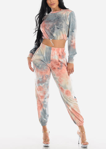 Image of Blue Tie Dye Crop Top & Jogger Pants (2 PCE SET)
