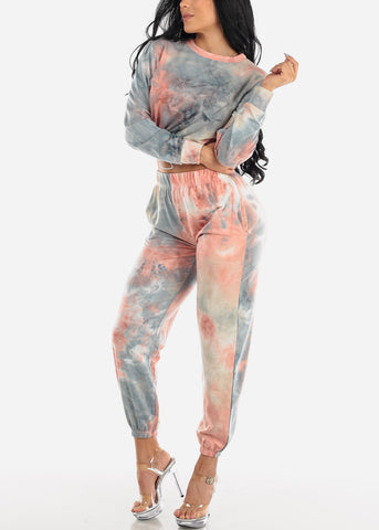 Blue Tie Dye Crop Top & Jogger Pants (2 PCE SET)