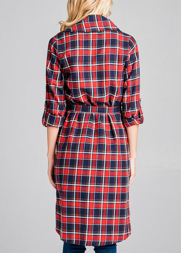Red & Navy Plaid Trench Jacket