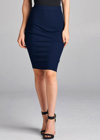 Image of Sexy Pull On Knee Length Ribbed Navy Bodycon Skirt
