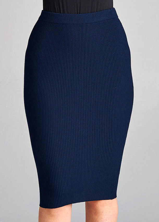 Sexy Pull On Knee Length Ribbed Navy Bodycon Skirt