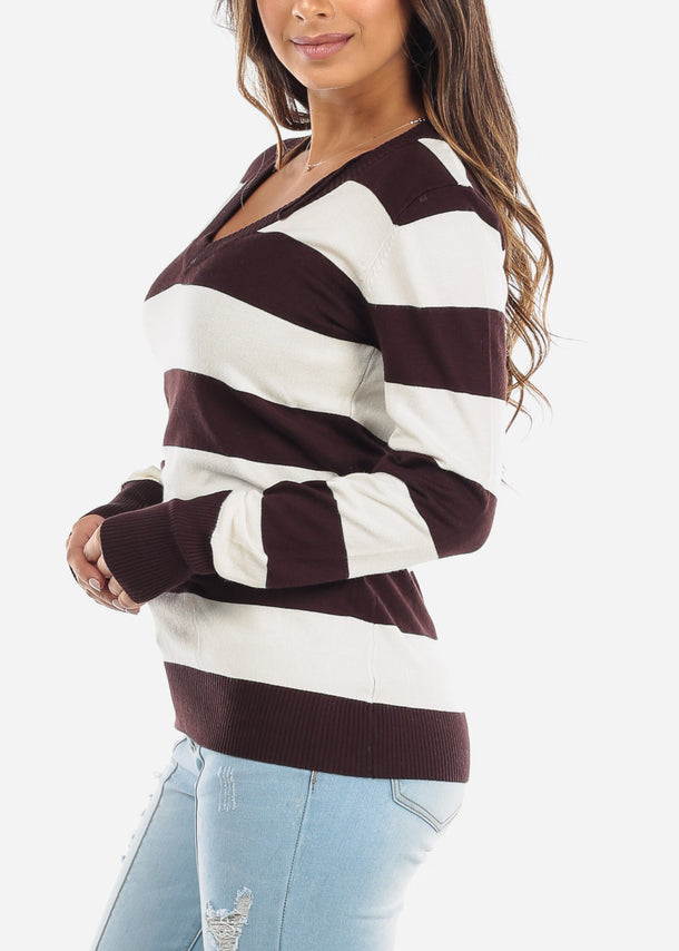 Brown & White Stripe V-Neck Long Sleeve Sweater