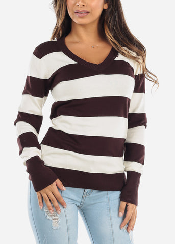 Image of Brown & White Stripe V-Neck Sweater SW235BRWWHT